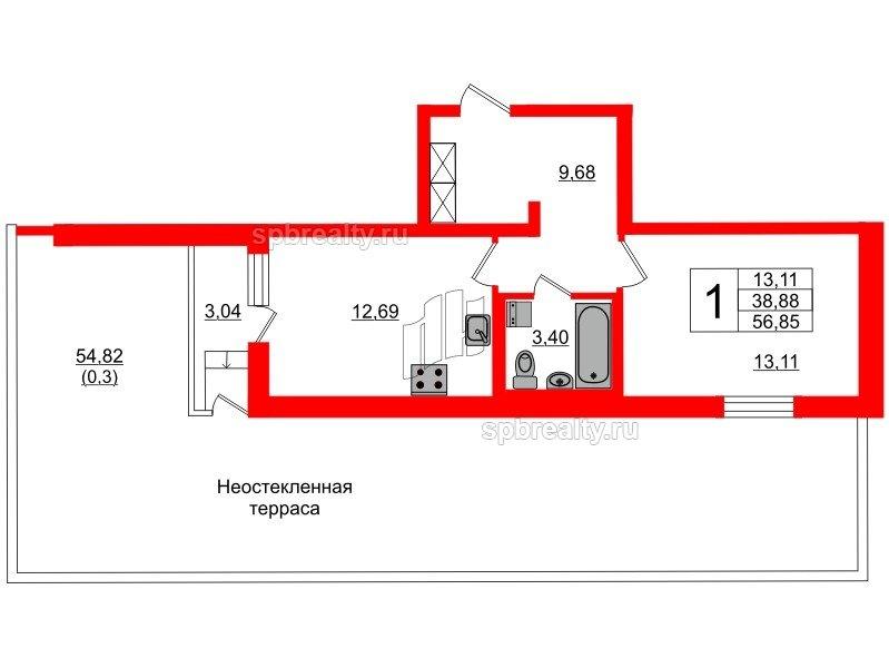Планировка Однокомнатная квартира площадью 38.88 кв.м в ЖК «Охтинская дуга»